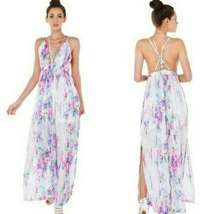 L'atiste Watercolor Maxi Dress w Cross Straps